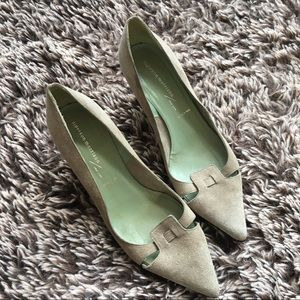 Sigerson Morrison suede career heels shoes sz 7.5
